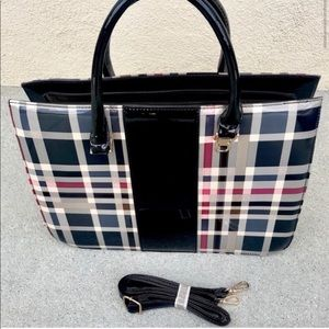PLAID attaché black PURSE TOTE laptop case patent